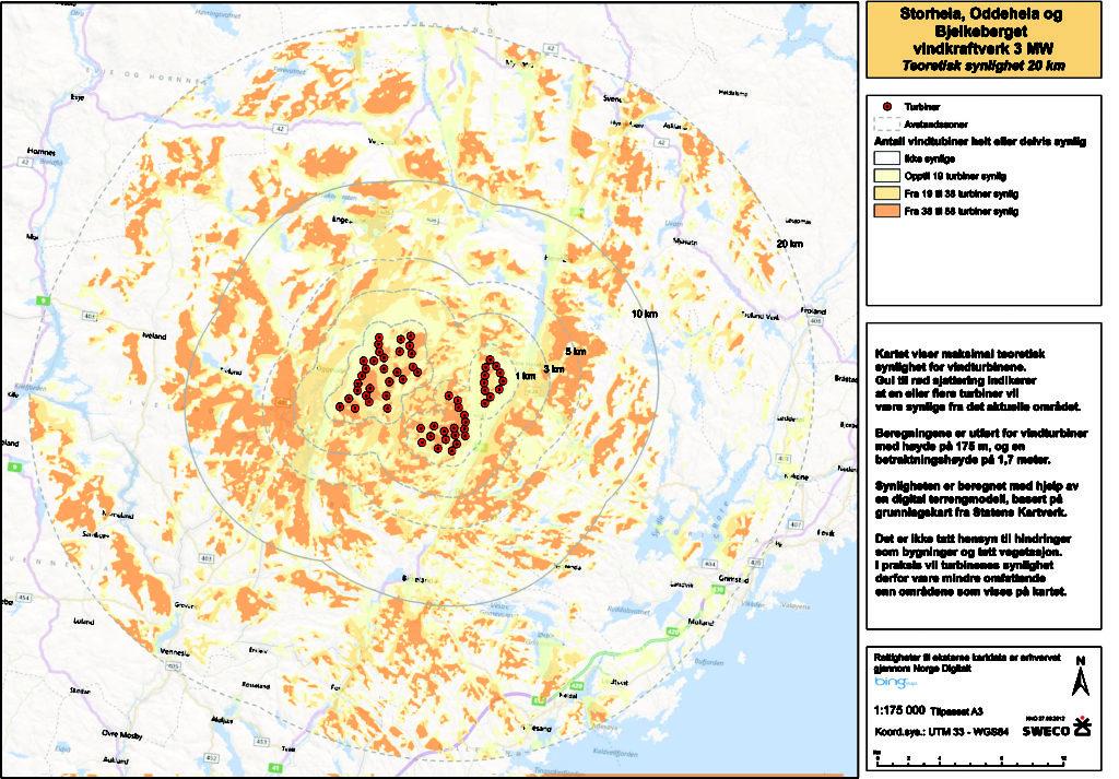SYNLIGHETSKART: Kartet er fra konsekvensutredningen og viser synligheten til den planlagte vindmølleparken. (Utarbeidet av Sweco)