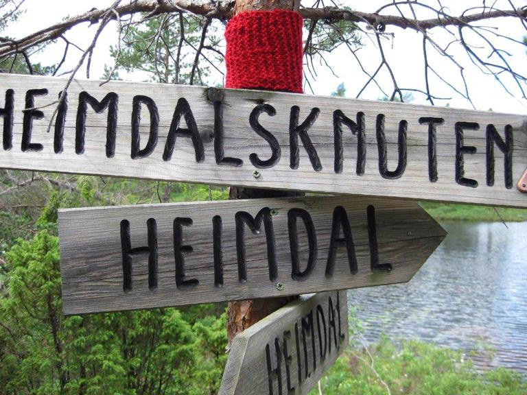 OPPFINNSOMT: Finnes det liknende løypemerker andre steder? Bertha Heimdal står bak nyskapningen som markerer turstien opp på Heimdalsknuten. (Foto: OLAV HEIMDAL/Birkenes kommune)