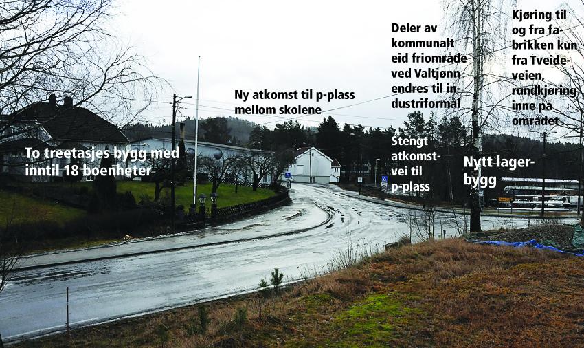 I VIRKSOMHET SIDEN 1945: Etter hvert som Birkeland har vokst har trafikksikkerhet, plassmangel og strandsone skapt mye hodebry for både Aanesland fabrikker og kommunen. Nå får politikerne i Birkenes snart forslag til en detaljreguleringsplan på bordet. Teksten på bildet viser noen av de foreslåtte endringene.