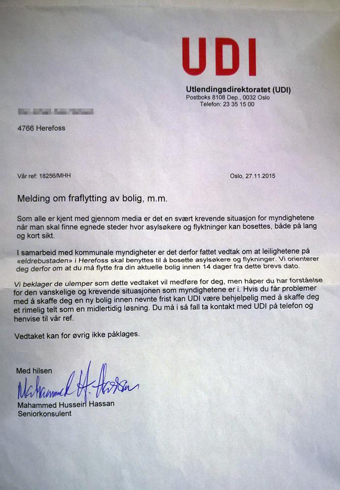 UDI: Slik er brevet som er sendt til en beboer på Herefoss. Birkenes Avisa har sladdet mottakerens navn.