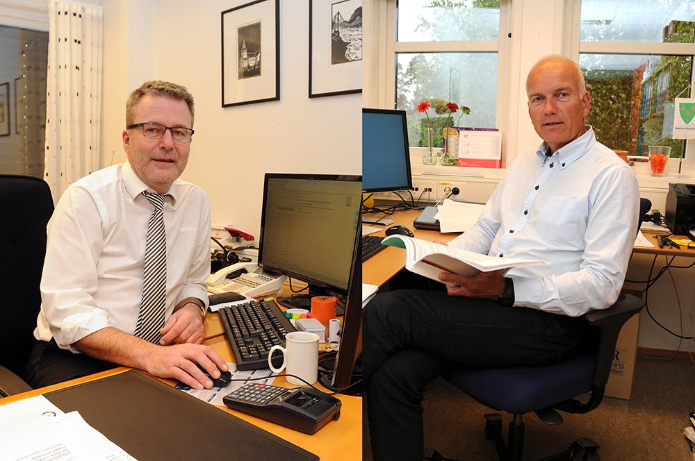 BRUDD: Banksjef Harald Flaa (t.v.) hos Birkenes sparebank har ikke levert inn tilbud til økonomisjef Tom Olstad i Birkenes kommune. Dermed må kommunen velge en ny hovedbank.