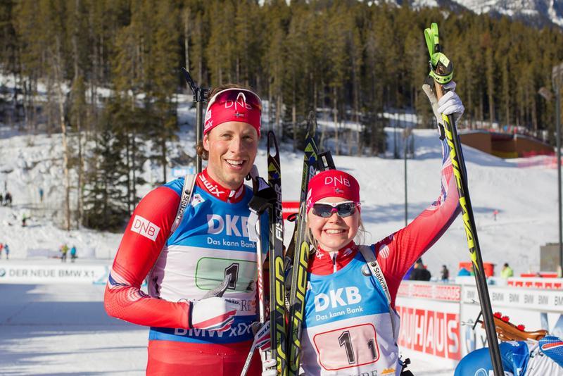 CANADA: Lars Helge Birkeland og Hilde Fenne i kanadiske Canmore. FOTO: IBU / Christian Manzoni
